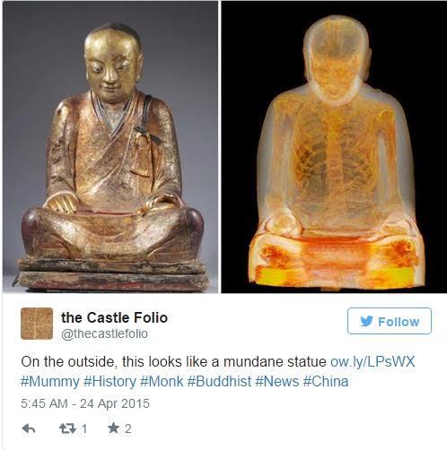 ร่างมัมมี่นี้ถูกค้นพบเจออยู่ภายในพระพุทธรูป  หลังจากที่ผู้ซื้อนำมันมาให้กับผู้เชี่ยวชาญเพื่อทำการบูรณะใหม่ ...